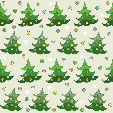 gaiety: winter holidays pattern seamless background with hand-drawing cartoon spruce