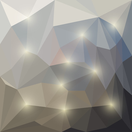 Abstract bright winter colored polygonal triangular background with glaring lights  for use in design