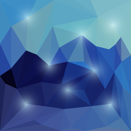 Abstract bright blue colored polygonal triangular background with glaring lights  for use in design