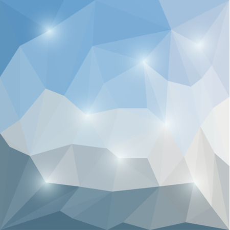 Abstract winter colored polygonal triangular background with glaring lights  for use in design