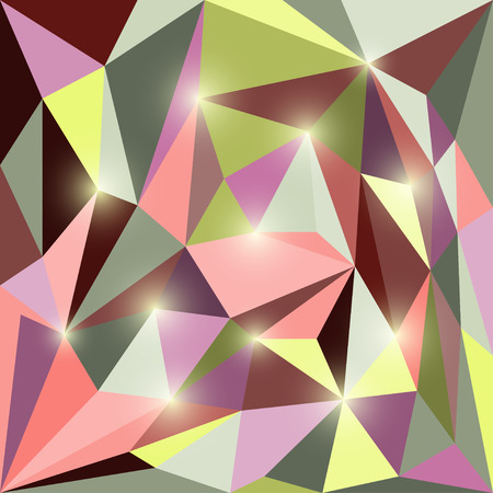 Abstract polygonal triangular geometric background with glaring lights