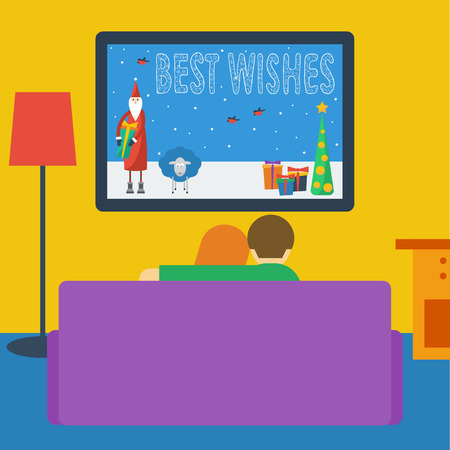 illustration in a flat style with couple watching television sitting on the couch in the room
