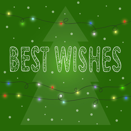 gaiety: bright green winter holidays card background with  hand-drawing best wishes, lights and spruce