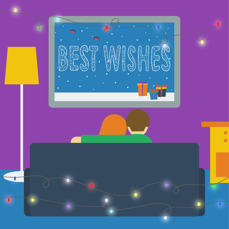 illustration in a flat style with couple watching television sitting on the couch in the room Vector