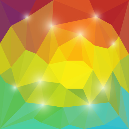 chipping: Abstract bright colored polygonal triangular background with glaring lights  for use in design