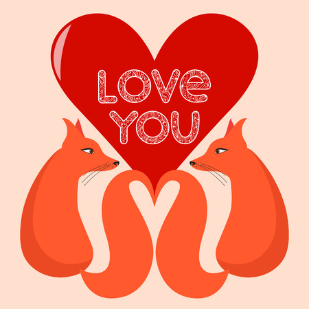 happy couple: bright colored illustration with cartoon foxes, hand-drawing love words and heart for use in design for valentines day or wedding greeting card