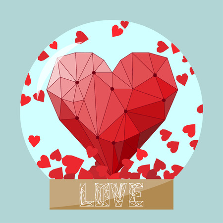 confession: illustration with bright geometric heart in glass ball for use in design for valentines day or wedding greeting card