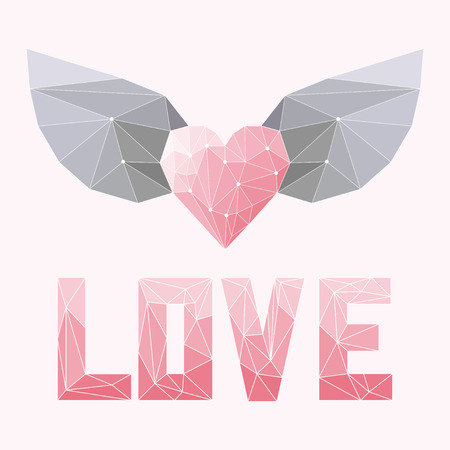 geometric soft colored triangular abstract polygonal heart with wings and love word isolated on pink cover for use in design for valentines day or wedding greeting card