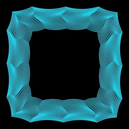 contortion: abstract geometric vector frame from broken blue colored lines