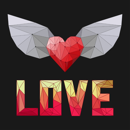 hart: geometric triangular abstract polygonal heart with wings and love word isolated on dark cover for use in design for valentines day or wedding greeting card Illustration
