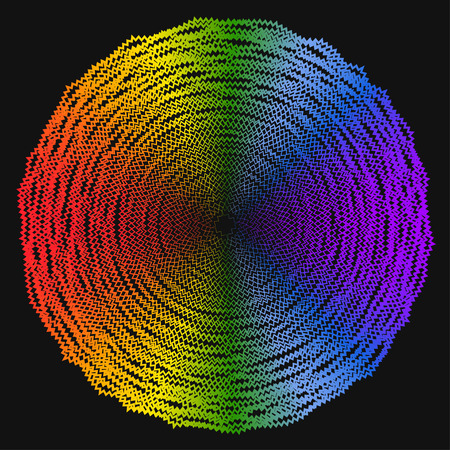 contortion: abstract geometric spectral rainbow colored background from broken lines isolated on black cover Illustration