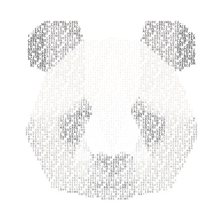 abstract portrait: abstract portrait of a panda made of words  love, nature, anomal, care, protection< peace and wild, isolated on white background