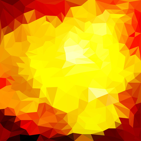 reverberation: abstract bright flame colored triangle blended polygonal geometric background for use in design