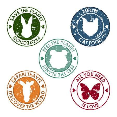 advocacy: animal round stamp set with protection, save, discover and love slogan for use in design