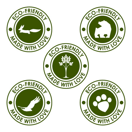 round eco stamp set for use in design Vector