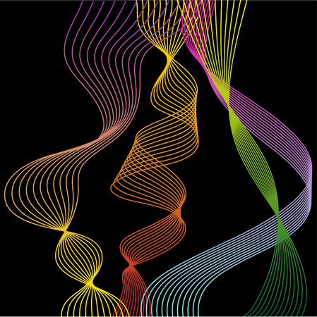 contortion: illustration with smooth flexible curved gradient colored lines set isolated on black background for use in design Illustration