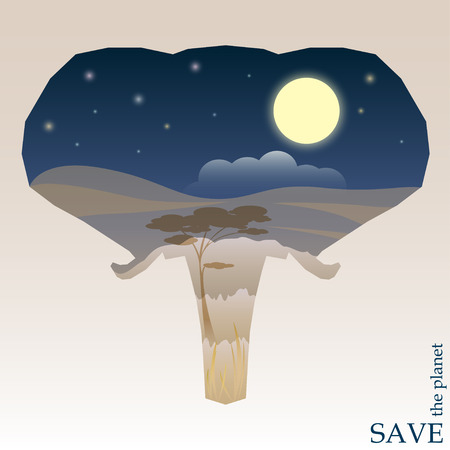 head protection: concept illustration on the theme of protection of nature and animals with night Savannah view in silhouette of elephant head for use in design for card, invitation, poster or placard