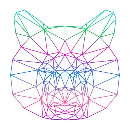 delineation: polygonal abstract gradient colored bear silhouette drawn in one continuous line isolated on a white background