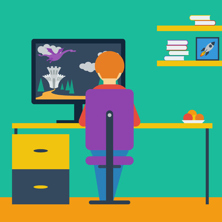 illustration in trendy flat style with a boy playing on the computer in game