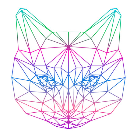 delineation: polygonal abstract gradient colored cat silhouette drawn in one continuous line isolated on a white background Illustration