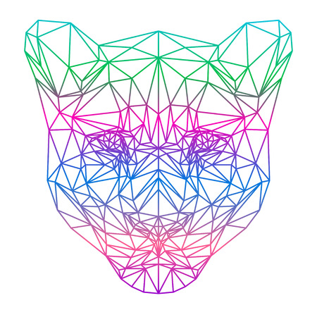 delineation: polygonal abstract gradient colored lion silhouette drawn in one continuous line isolated on a white background