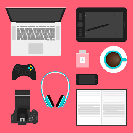 simple graphic illustration in a trendy flat style with objects used in everyday life of modern people isolated on bright red background for use in design Vector