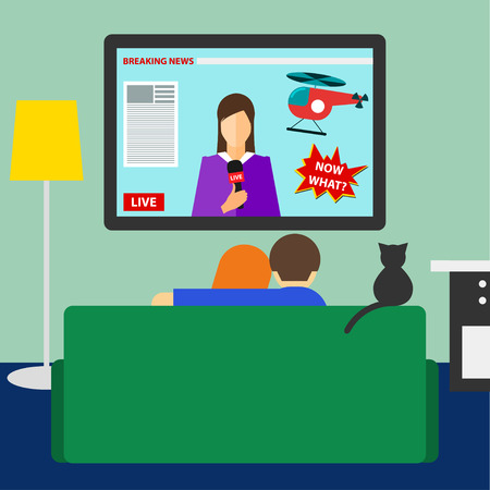 bright colored illustration in a trendy flat style with couple and cat watching the breaking news on television sitting on the couch in the room Vector