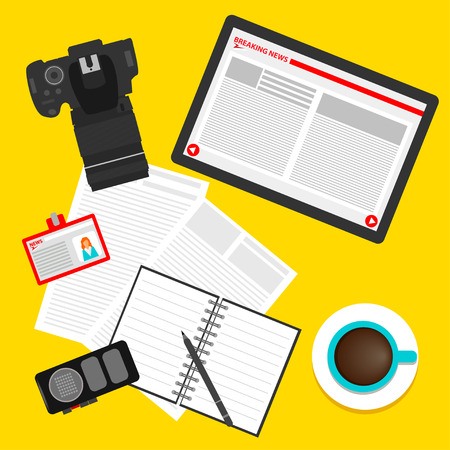 actual: bright colored conceptual illustration in trendy flat style on the theme of breaking news with set of tablet, coffee, skip, recorder, camera, pencil and newspaper, isolated on yellow background