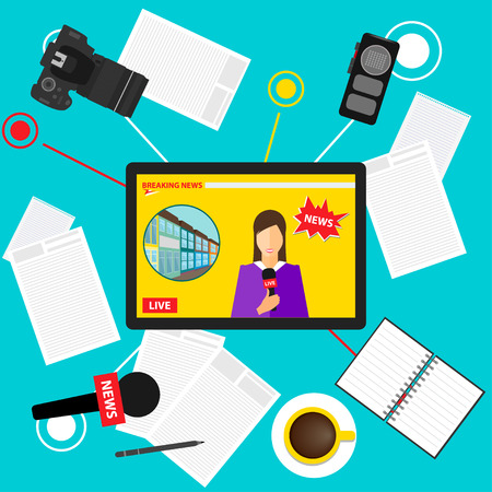 breaking: bright colored conceptual illustration in a trendy flat style on the theme of breaking news with set of tablet with an on-line broadcast of the event from the Internet, microphone, camera and recorder