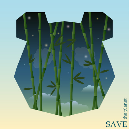 conceptual illustration on the theme of protection of nature and animals with bamboo on the night sky background in silhouette of panda head for use in design for card, invitation, poster or placard Vector