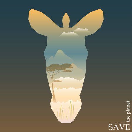zebra head: conceptual illustration on the theme of protection of nature and animals with evening Savannah view in silhouette of zebra head for use in design for card, invitation, poster or placard Illustration