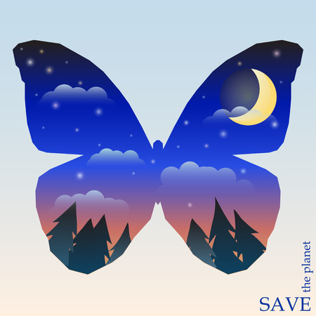 conceptual illustration on the theme of protection of nature and animals with night forest with sunset sky and moon in silhouette of butterfly for use in design for card, invitation, poster or placard Vector