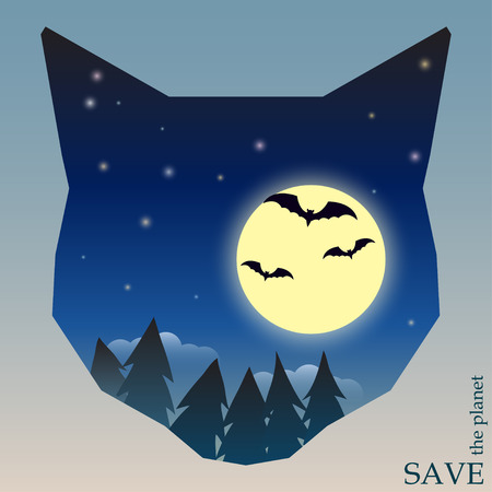 conceptual illustration on the theme of protection of nature and animals with night forest with bats and moon in silhouette of cat head for use in design for card, invitation, poster or placard Vector