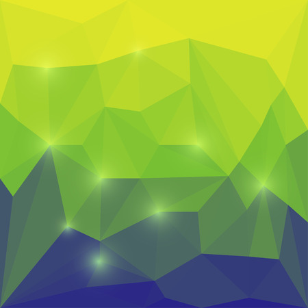 Abstract bright blue, green and yellow colored polygonal geometric triangular background with glaring lights  for use in design for card, invitation, poster, banner, placard or billboard cover