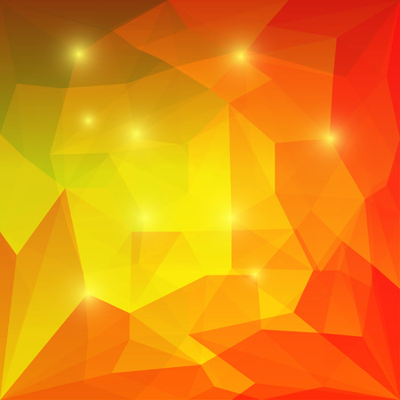 Abstract bright orange and yellow colored polygonal geometric triangular background with glaring lights  for use in design for card, invitation, poster, banner, placard or billboard cover Illustration