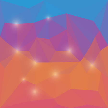 Abstract bright colored polygonal geometric triangular background with glaring lights  for use in design