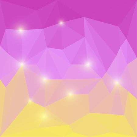 Abstract bright purple and yellow colored polygonal geometric triangular background with glaring lights for use in design for card, invitation, poster, banner, placard or billboard cover