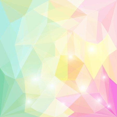 Abstract soft green, yellow and purple colored polygonal geometric triangular background with glaring lights for use in design for card, invitation, poster, banner, placard or billboard cover
