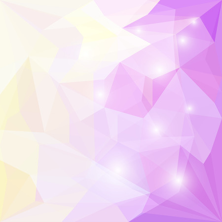 glaring: Abstract soft yellow and lilac colored polygonal geometric triangular background with glaring lights for use in design for card, invitation, poster, banner, placard or billboard cover