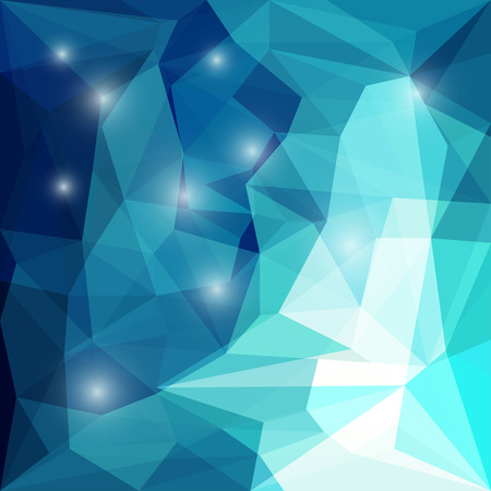 Abstract bright deep sea blue colored polygonal geometric triangular background with glaring lights for use in design for card, invitation, poster, banner, placard or billboard cover Illustration