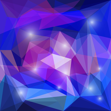 Abstract bright blue and purple colored polygonal geometric triangular background with glaring lights for use in design for card, invitation, poster, banner, placard or billboard cover