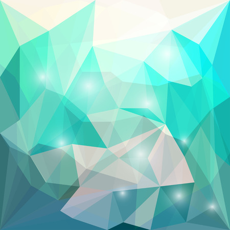 Abstract bright blue, green and beige colored polygonal geometric triangular background with glaring lights for use in design for card, invitation, poster, banner, placard or billboard cover