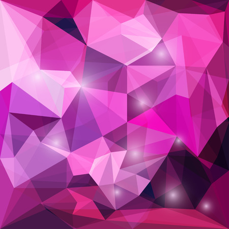 Abstract bright purple colored polygonal geometric triangular background with glaring lights  for use in design for card, invitation, poster, banner, placard or billboard cover