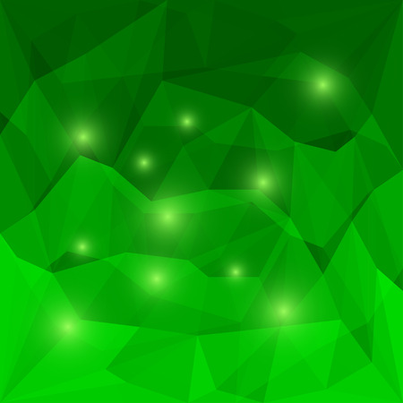 chipping: Abstract bright emerald green colored polygonal triangular background with glaring lights for use in design for card, invitation, poster, banner, placard or billboard cover Illustration