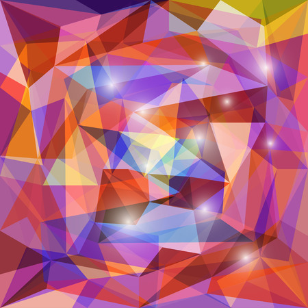 Abstract bright motley colored polygonal triangular background with glaring lights  for use in design for card, invitation, poster, banner, placard or billboard cover
