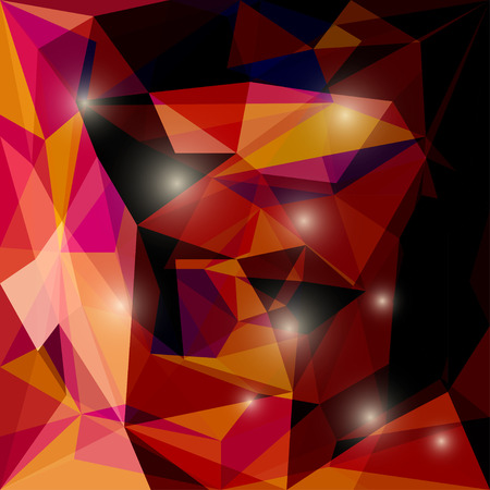 Abstract bright deep red colored polygonal triangular background with glaring lights  for use in design for card, invitation, poster, banner, placard or billboard cover