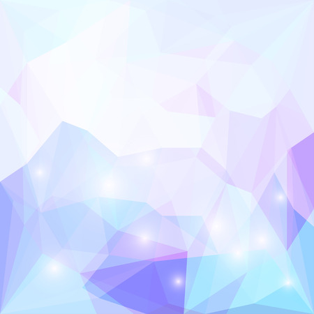 Abstract soft lilac, blue and purple colored polygonal triangular background with glaring lights  for use in design for card, invitation, poster, banner, placard or billboard cover