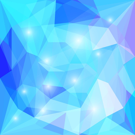 Abstract bright blue colored polygonal triangular background with glaring lights  for use in design for card, invitation, poster, banner, placard or billboard cover