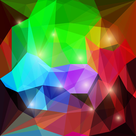 Abstract bright dark colored polygonal triangular background with glaring lights for use in design for card, invitation, poster, banner, placard or billboard cover