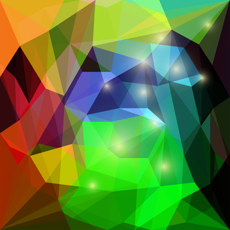 Abstract bright green, blue, orange and brown colored polygonal triangular background with glaring lights for use in design for card, invitation, poster, banner, placard or billboard cover Illustration